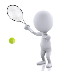 3d white people with tennis racket and ball. Isolated white back