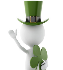 3d white man celebrating St. Patrick's day with four-leaf clover