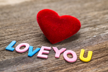Love message written by colour paper