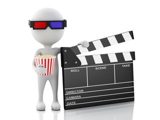 3d white man with clapper board and popcorn.