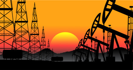 industrial background oil production vector
