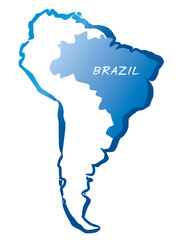 Vector map of South America and Brazil.