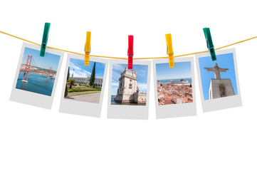 Five photos of Lisbon on clothesline