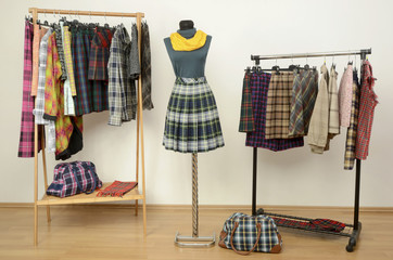 Dressing closet with plaid clothes arranged on hangers and dummy