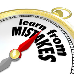 Learn From Mistakes Words Compass Experiment Success Failure Try
