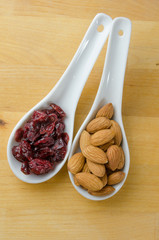 Spoons of Cranberries and Almonds Vertical