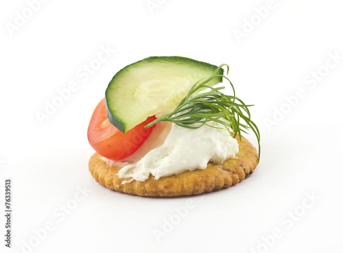 Fotobehang Assortiment Crackers with Cheese Tomato Cucumber and Dill