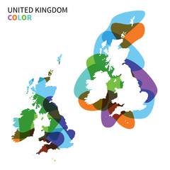 Abstract vector map of United Kingdom isolated on white.
