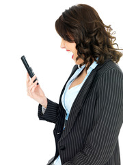 Angry Young Business Woman Screaming Down a Telephone
