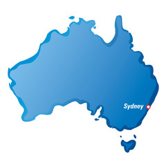 Vector map of Australia and Sydney
