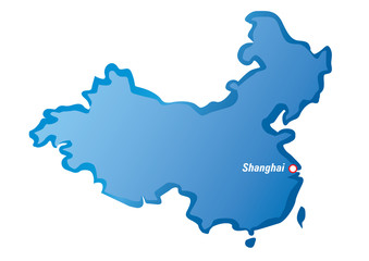Vector map of China and Shanghai