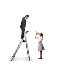 man standing on the stepladder and looking