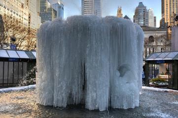 Bryant Park Fountain, Frozen - New York