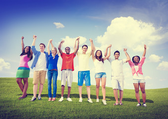 Group Friends Outdoors Celebration Winning Victory Concept