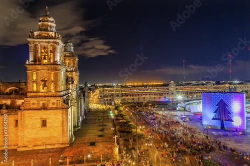Deurstickers Mexico Metropolitan Cathedral Zocalo Mexico City Christmas Night