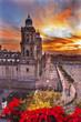 Metropolitan Cathedral Christmas Zocalo Mexico City Sunrise