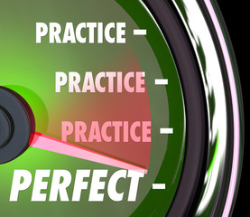 Practice Makes Perfect Speedometer Gauge Measure Performance Per