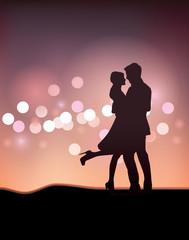 Couple Dancing Silhouette Illustration