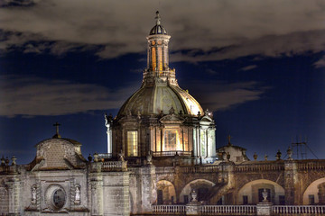 Metropolitan Cathedral Dome Zocalo Mexico City at Night