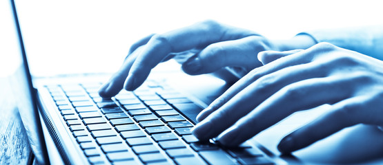 Human hands working on laptop