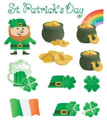 Happy St. Patrick's Day! Vector  set or icons at retro style
