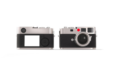 Vintage style digital camera - front and back view