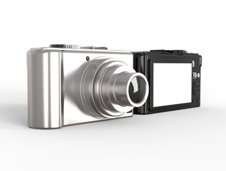 Black and silver modern compact digital photo camera