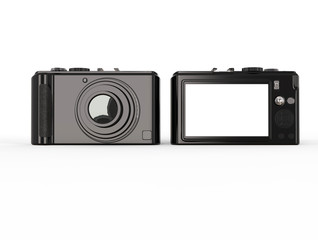 Black modern compact digital photo camera - front and back side