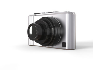 Silver modern compact digital photo camera with black lens