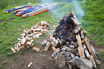 stones in fire for marching baths