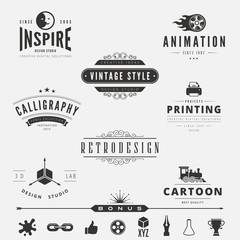Retro Vintage Labels Logo design vector badges