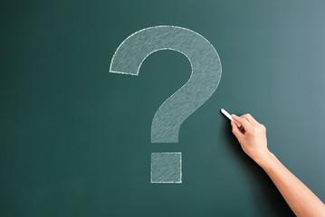 question mark drawed on blackboard