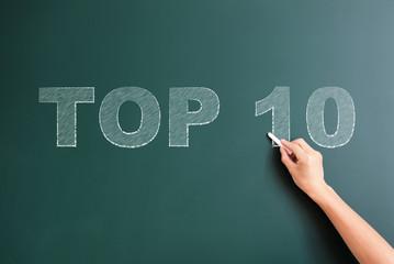 top 10 written on blackboard