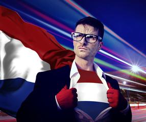 Superhero Businessman Netherlands Flag Patriotism Concept