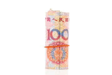 Roll of 100 Yuan bills isolated on white with clipping path