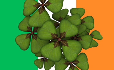 Blossom of clover on ireland flag.