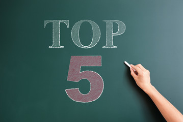 top 5 written on blackboard