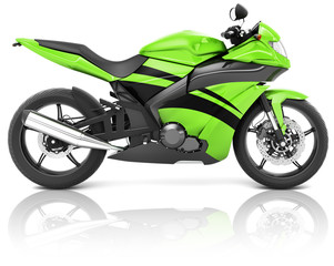 Motorcycle Motorbike Bike Riding Rider Contemporary Green Concep