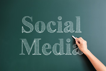 social media written on blackboard