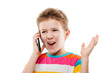 Amazed and surprised child boy talking mobile phone or smartphon