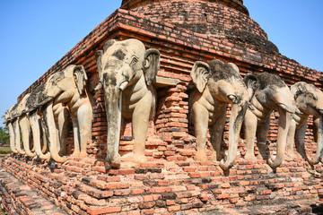 Elephant sculptures in Sukhothai Historical Park (UNESCO World H
