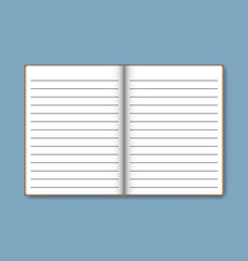 Open notebook with white lined pages, vector illustration