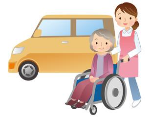 車椅子に乗る高齢者 介護 ヘルパー