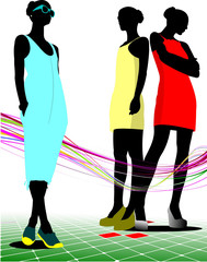 Three women silhouettes with sunglasses. Vector illustration