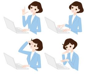 若い女性とノートパソコン