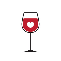 Vector Love Heart Wine Glass