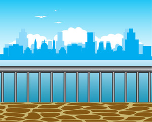 Type on city with coast