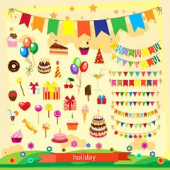 Holiday icon set, flat design