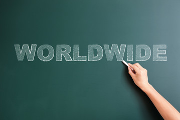worldwide written on blackboard