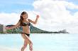 Beach woman in bikini on Waikiki, Oahu, Hawaii